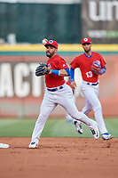 Buffalo Bisons second baseman Devon Travis (2) throws to first base in front of shortstop Lourdes Gurriel Jr. (13) during a game against the Scranton/Wilkes-Barre RailRiders on May 18, 2018 at Coca-Cola Field in Buffalo, New York.  Buffalo defeated Scranton/Wilkes-Barre 5-1.  (Mike Janes/Four Seam Images)