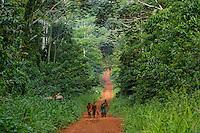 On the forest track, a group of women come back from the stream after their bath.///Sur la piste forestière, un groupe de femme rentre de la rivière après le bain.
