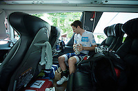 Adam Yates (GBR/Orica-BikeExchange) getting ready on the teambus before the stage to ride into Paris as the 2016 TdF white jersey winner<br /> <br /> Final stage 21 - Chantilly › Paris/Champs Elysées (113km)<br /> 103rd Tour de France 2016