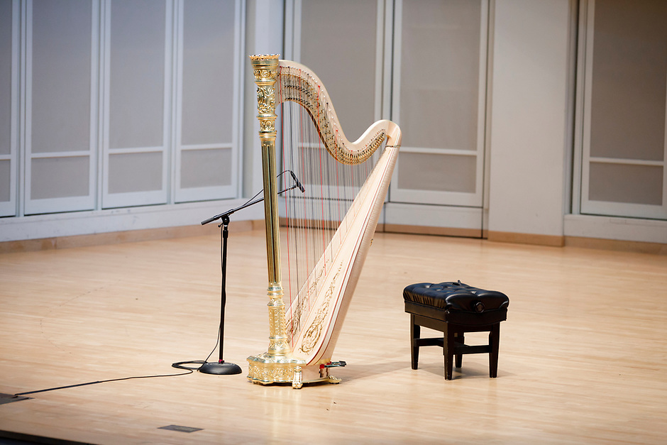 The stage is set before a laureate recital by harpist Lenka Petrovic during the 11th USA International Harp Competition at Indiana University in Bloomington, Indiana on Sunday, July 7, 2019. (Photo by James Brosher)