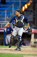 Hudson Valley Renegades catcher Luke Maile #21 during the second game of a double header against the Jamestown Jammers at Russell Diethrick Park on August 6, 2012 in Jamestown, New York.  Hudson Valley defeated Jamestown 4-2.  (Mike Janes/Four Seam Images)