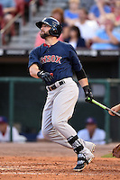 Pawtucket Red Sox outfielder Bryce Brentz (25) hits a home run to left center during a game against the Buffalo Bisons on August 26, 2014 at Coca-Cola Field in Buffalo, New  York.  Pawtucket defeated Buffalo 9-3.  (Mike Janes/Four Seam Images)