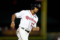 Rochester Red Wings pinch runner Rafael Bautista (17) running the bases during a game against the Worcester Red Sox on September 3, 2021 at Frontier Field in Rochester, New York.  (Mike Janes/Four Seam Images)