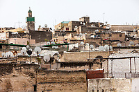 Fes, Morocco.  Satellite Dishes on Houses in the Medina (Old City), Fes El-Bali.