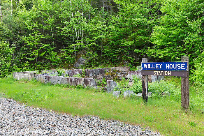 Site of the Willey House Station along the old Maine Central Railroad (near Ethan Pond Trail) during the spring months in Crawford Notch, New Hampshire. The railroad burned down this station sometime in the 1980s.