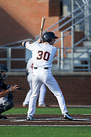 Kyle Tucker (30) of the Buies Creek Astros at bat against the Wilmington Blue Rocks at Jim Perry Stadium on April 29, 2017 in Buies Creek, North Carolina.  The Astros defeated the Blue Rocks 3-0.  (Brian Westerholt/Four Seam Images)