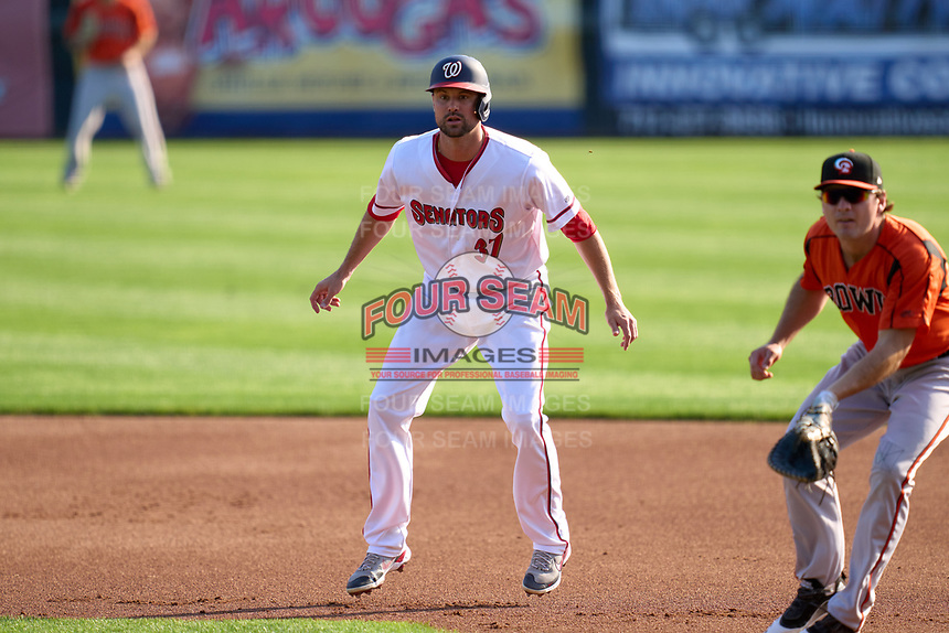 Harrisburg Senators Jordy Mercer (37), on rehab assignment from the Washington Nationals, leads off first base during a game against the Bowie Baysox on September 8, 2021 at FNB Field in Harrisburg, Pennsylvania.  (Mike Janes/Four Seam Images)