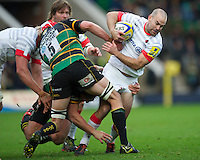 20121027 Copyright onEdition 2012©.Free for editorial use image, please credit: onEdition..Charlie Hodgson of Saracens bursts through the tackle of Mark Sorenson of Northampton Saints during the Aviva Premiership match between Northampton Saints and Saracens at Franklin's Gardens on Saturday 27th October 2012 (Photo by Rob Munro)..For press contacts contact: Sam Feasey at brandRapport on M: +44 (0)7717 757114 E: SFeasey@brand-rapport.com..If you require a higher resolution image or you have any other onEdition photographic enquiries, please contact onEdition on 0845 900 2 900 or email info@onEdition.com.This image is copyright the onEdition 2012©..This image has been supplied by onEdition and must be credited onEdition. The author is asserting his full Moral rights in relation to the publication of this image. Rights for onward transmission of any image or file is not granted or implied. Changing or deleting Copyright information is illegal as specified in the Copyright, Design and Patents Act 1988. If you are in any way unsure of your right to publish this image please contact onEdition on 0845 900 2 900 or email info@onEdition.com