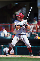 Altoona Curve catcher Reese McGuire (7) at bat during a game against the Erie SeaWolves on July 10, 2016 at Jerry Uht Park in Erie, Pennsylvania.  Altoona defeated Erie 7-3.  (Mike Janes/Four Seam Images)