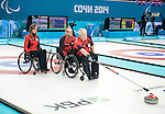 Jim Armstrong, Dennis Thiessen, and Sonja Gaudet, Sochi 2014 - Wheelchair Curling // Curling en fauteuil roulant.<br />