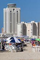 Tripoli, Libya - Mediterranean Beach Scene, Al-Fateh Tower, Office Building, in Background