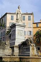 Denkmal von Napoleon Bonaparte auf der Place Foch in Ajaccio, Korsika, Frankreich