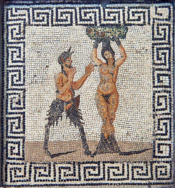 Roman mosaic of Pan and Hamadryad, a Greek mythological being that lives in trees , found in Pompeii, from the Farnese Collection, inv no 227708, Naples Archaeological Museum