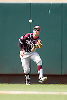Texas A&M Aggies outfielder Brandon Wood #8 makes a catch during the NCAA baseball game against the Texas Longhorns on April 28, 2012 at UFCU Disch-Falk Field in Austin, Texas. The Aggies beat the Longhorns 12-4. (Andrew Woolley / Four Seam Images).