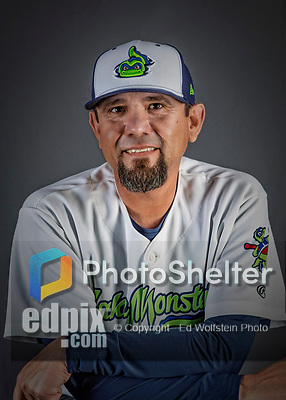 11 June 2019: Vermont Lake Monsters pitching coach Carlos Chavez poses for a portrait on Photo Day at Centennial Field in Burlington, Vermont. The Lake Monsters are the Single-A minor league affiliate of the Oakland Athletics and play a short season in the NY Penn League Stedler Division. Mandatory Credit: Ed Wolfstein Photo *** RAW (NEF) Image File Available ***