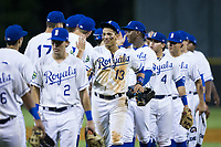 Jeison Guzman (13) of the Burlington Royals high fives his teammates after their win over the Danville Braves at Burlington Athletic Stadium on August 15, 2017 in Burlington, North Carolina.  The Royals defeated the Braves 6-2.  (Brian Westerholt/Four Seam Images)