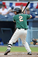 Greensboro Grasshoppers shortstop Anthony Gomez #2 awaits a pitch during game one of a double header against the Asheville Tourists on July 2, 2013 in Asheville, North Carolina.  The Tourists won the game 5-3. (Tony Farlow/Four Seam Images)