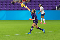 ORLANDO CITY, FL - FEBRUARY 18: Alyssa Naeher #1 throws the ball to a teammate during a game between Canada and USWNT at Exploria stadium on February 18, 2021 in Orlando City, Florida.