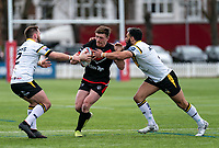 Ed Chamberlain (on loan from Salford) of London Broncos during the Betfred Challenge Cup match between London Broncos and York City Knights at The Rock, Rosslyn Park, London, England on 28 March 2021. Photo by Liam McAvoy.