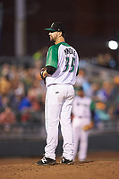 Dayton Dragons starting pitcher Tyler Mondile (35) looks to his catcher for the sign against the Bowling Green Hot Rods at Fifth Third Field on June 8, 2018 in Dayton, Ohio. The Hot Rods defeated the Dragons 11-4.  (Brian Westerholt/Four Seam Images)