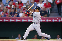 Hideki Matsui of the New York Yankees during a 2007 MLB season game against the Los Angeles Angels at Angel Stadium in Anaheim, California. (Larry Goren/Four Seam Images)
