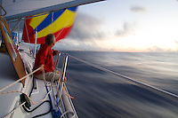 Crew of a cruising sailboat trimming the spinnaker at sunset, during a Pacific crossing