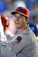 Clearwater Threshers pitcher Matt Imhof (48) in the dugout during a game against the Dunedin Blue Jays on April 10, 2015 at Florida Auto Exchange Stadium in Dunedin, Florida.  Clearwater defeated Dunedin 2-0.  (Mike Janes/Four Seam Images)