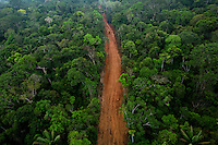 A road being built in Block 31, an area assigned to Petroamazonas (part of the state oil company Petroecuador) for oil exploration, through the jungle of Yasuni National Park. The company has built 12 miles of roads in block 31 raising many concerns as to there long term impact.