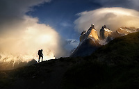 Backpacker at first light. Torres Del Paine National Park, Chile
