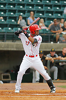Greeneville Reds outfielder Reniel Ozuna (27) at bat during a game against the Bristol Pirates at Pioneer Field on June 19, 2018 in Greeneville, Tennessee. Bristol defeated Greeneville 10-2. (Robert Gurganus/Four Seam Images)