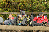 Fans wait patiently as another session is cancelled due to bat weather at the Gooseneck during the 2019 Isle of Man TT (Tourist Trophy) Races, Fuelled by Monster Energy DOUGLAS, ISLE OF MAN - June 05. Photo by David Horn.