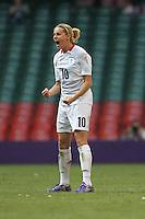 Kelly SMITH of Great Britain celebrates the winning goal - Great Britain Women vs New Zealand Women - Womens Olympic Football Tournament London 2012 Group E at the Millenium Stadium, Cardiff, Wales - 25/07/12 - MANDATORY CREDIT: Gavin Ellis/SHEKICKS/TGSPHOTO - Self billing applies where appropriate - 0845 094 6026 - contact@tgsphoto.co.uk - NO UNPAID USE.