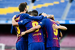Players of FC Barcelona celebrate during the La Liga 2017-18 match between FC Barcelona and Las Palmas at Camp Nou on 01 October 2017 in Barcelona, Spain. (Photo by Vicens Gimenez / Power Sport Images