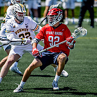1 May 2021: Stony Brook University Seawolves Midfielder Mike McCannell, a Senior from Orangeville, Ontario, in action against the University of Vermont Catamounts at Virtue Field in Burlington, Vermont. The Cats edged out the Seawolves 14-13 with less than one second to play in their America East Men's Lacrosse matchup. Mandatory Credit: Ed Wolfstein Photo *** RAW (NEF) Image File Available ***