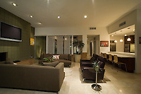 Side view of elegant mid-century living room in renovated Palm Springs residence