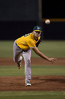 AZL Athletics relief pitcher Osvaldo Berrios (40) follows through on his delivery during an Arizona League game against the AZL Giants Black at the San Francisco Giants Training Complex on June 19, 2018 in Scottsdale, Arizona. AZL Athletics defeated AZL Giants Black 8-3. (Zachary Lucy/Four Seam Images)