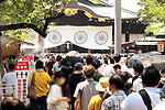 August 15, 2020, Tokyo, Japan - People visit the controversial Yasukuni shrine to honor war victims in Tokyo on Saturday, August 15, 2020. Japan marked the 75th anniversary of its surrender of World War II.        (Photo by Yoshio Tsunoda/AFLO)