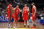 CAI Zaragoza´s players during 2013-14 Liga Endesa basketball match at Palacio de los Deportes stadium in Madrid, Spain. May 30, 2014. (ALTERPHOTOS/Victor Blanco)