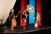 Montreal (QC) CANADA - April 2012 File Photo - ARTCIRC Canadian Traditional  Innue dancers   at- IPY (International Polar Year) 2012 conference held at Montreal Convention Centre - Pall Christiansen