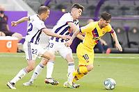 Real Valladolid's Nacho Martinez (l) and Waldo Rubio (c) and FC Barcelona's Leo Messi during La Liga match. July 11,2020. (ALTERPHOTOS/Acero)<br /> 11/07/2020<br /> Liga Spagna 2019/2020 <br /> Valladolid - Barcelona <br /> Foto Alterphotos / Insidefoto <br /> ITALY ONLY