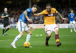 Motherwell v St Johnstone…20.10.18…   Fir Park    SPFL<br />Matty Kennedy is closed down by Peter Hartley<br />Picture by Graeme Hart. <br />Copyright Perthshire Picture Agency<br />Tel: 01738 623350  Mobile: 07990 594431