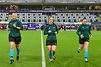 assistant Elisabeth Thoresen , referee Henrikke Nervik , assistant Monica Lokkeberg pictured before a female soccer game between RSC Anderlecht Dames and Portugese Benfica Ladies  in the second qualifying round for the Uefa Womens Champions League of the 2020 - 2021 season , Wednesday 18 th of November 2020  in ANDERLECHT , Belgium . PHOTO SPORTPIX.BE | SPP | STIJN AUDOOREN