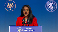 """United States Associate Attorney General-designate Vanita Gupta makes remarks after US President-elect Joe Biden delivered remarks as he names """"Key Nominees for the Department of Justice"""" from the Queen Theatre in Wilmington, Delaware on Thursday, January 7, 2021.  <br /> CAP/MPI/RS<br /> ©RS/MPI/Capital Pictures"""