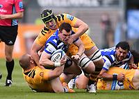 31st August 2020; Recreation Ground, Bath, Somerset, England; English Premiership Rugby, Bath versus Wasps; Jack Willis of Wasps tackles Ben Spencer of Bath