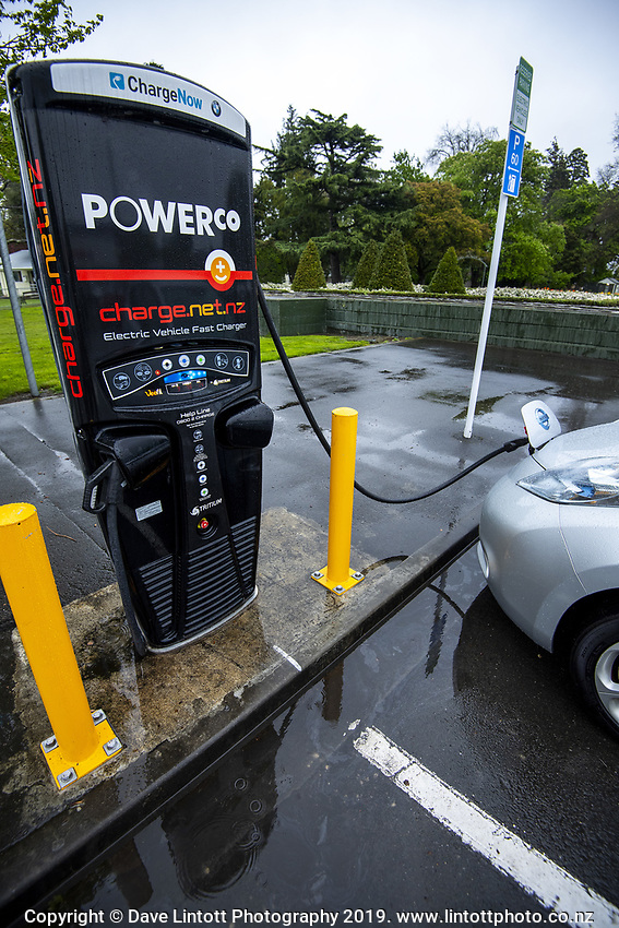 Electric Vehicle Recharging Station in Masterton, New Zealand on Wednesday, 16 October 2019. Photo: Dave Lintott / lintottphoto.co.nz