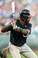 Miami Hurricanes outfielder Ricky Eusebio (2) at bat against the Florida Gators in the NCAA College World Series on June 13, 2015 at TD Ameritrade Park in Omaha, Nebraska. Florida defeated Miami 15-3. (Andrew Woolley/Four Seam Images)