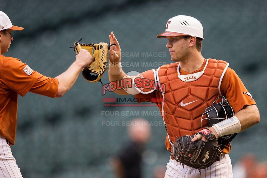 Texas Longhorns catcher Jeremy Montalbano #33 during the NCAA baseball game against the Houston Cougars on March 1, 2014 during the Houston College Classic at Minute Maid Park in Houston, Texas. The Longhorns defeated the Cougars 3-2. (Andrew Woolley/Four Seam Images)