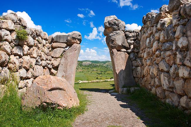 Photo of the Hittite releif sculpture on the Kings gate to the Hittite capital Hattusa.1