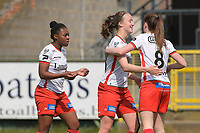 Esther Buabadi (24) of Zulte Waregem pictured celebrating her opening goal with her teammates during a female soccer game between Eendracht Aalst and SV Zulte Waregem on the fourth matchday of play off 2 of the 2020 - 2021 season of Belgian Scooore Womens Super League , Saturday 1 st of May 2021  in Aalst , Belgium . PHOTO SPORTPIX.BE | SPP | DIRK VUYLSTEKE