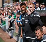 30.06.18 Linlithgow Rose v Hibs: Neil Lennon applies sunscreen before the match